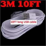 10FT long * Data cable  iPhone 8 X 7 , 7P , 6 , 6 Plus , 6S , 6S , ipad Mini 1 / 2 / 3 , iPad Air 1 / 2 , USB Cable IOS 8 , IOS 9 * White
